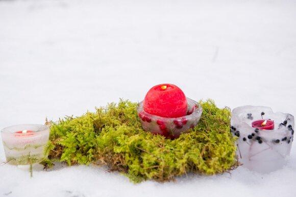 Kalėdiniai papuošimai, kuriuos gali pasidaryti kiekvienas: ledo žvakidės