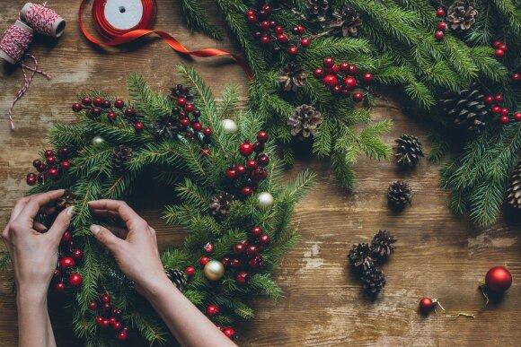 Kalėdų vainikas iš eglišakių