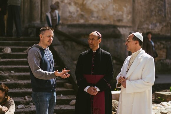Chris Cassel on the set of Pope vs. Hitler. Lithuanian Vaidotas Martinaitis plays the cardinal in the middle