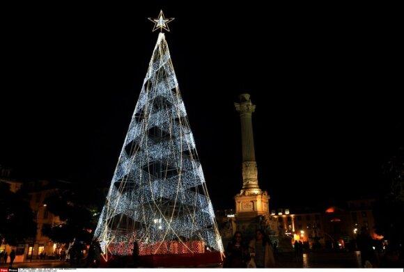 Kalėdų eglutė Rossio aikštėje, Lisabonoje, Portugalijoje