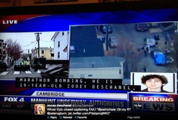 Su Bostono sprogimų įtariamuoju supainiota aktorė Zooey Deschanel sulaukė atsiprašymo