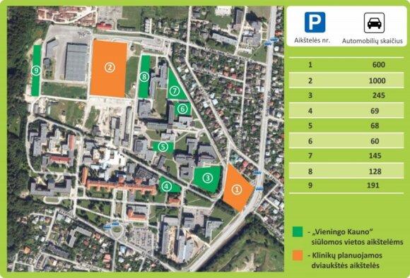 Numatomos automobilių stovėjimo aikštelės
