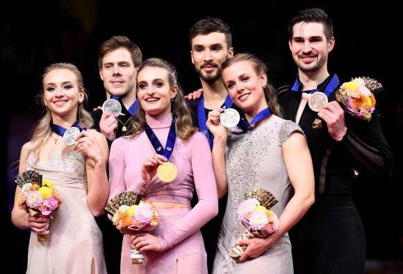 Prancūzijos šokėjų ant ledo pora, pasaulio čempionai Gabriella Papadakis ir Guillaume Cizeron, sidabro medalių laimėtojai rusai Viktorija Sinitsina and Nikita Kacalapovas, treti amerikiečiai Madison Hubbell ir Zachary Doohue