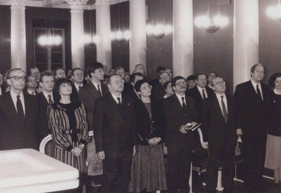 1992 VU TSPMI įkūrimas S.Lozoraitis, D.Lozoraitis, R.Pavilionis, M.A.Pavilionienė, V.Landsbergis ir kt.