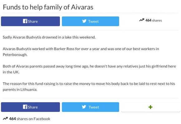 Platforma, kurioje renkamos lėšos Aivaro Budvyčio laidotuvėms (gofundme.com)