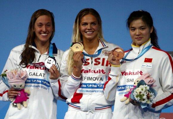 200 m plaukimo krūtine prizininkių pakyla pasaulio čempionate