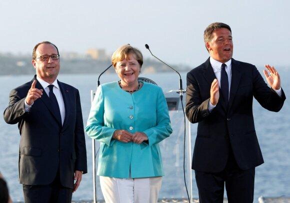 Matteo Renzi, Francois Hollande'as, Angela Merkel