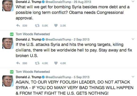 D. Trumpo komentarai dėl Sirijos 2013 metais