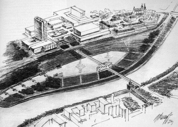 7 pav. Naujasis miesto centras, chrestomatinis A.Nasvyčio piešinys 1974 m.
