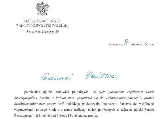 List Marszałka Senatu RP