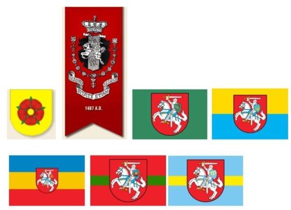 """Lietuviškųjų """"jotvingių"""" (""""Jotvos – 3"""") herbas ir  vadinamojo Jotvingių kryžiaus riterių ordino vėliava. Siūlyčiau atkreipti dėmesį į Lietuvos herbo profanaciją ordino vėliavoje – penkialapę rožę Vyties raitelio skyde. Toliau –""""Slobodijos"""", """"Galicijos"""", """""""