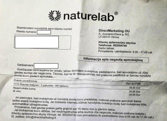 Laiškas su nurodyta sąskaita, kurį gavo skaitytoja.