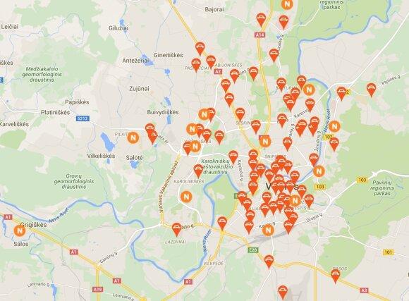 """""""CityBee"""" stotelių žemėlapis"""