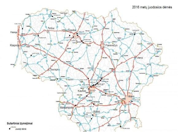 2016 m. juodųjų dėmių žemėlapis