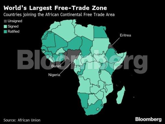 Trumpui ir Xi Jinpingui kariaujant prekybos fronte, Afrika ketina uždrausti tarifus