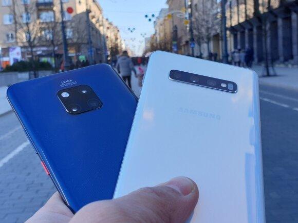 Huawei Mate 20 Pro ir Samsung Galaxy S10+