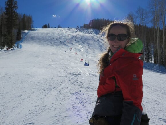 Jennifer Virškus on the GS training hill at Vail