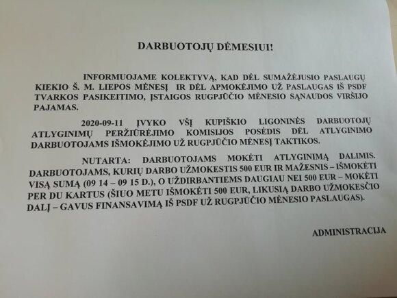 Grįžę po atostogų Kupiškio ligoninės medikai rado štai tokį raštelį.
