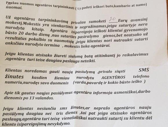 """SUTARTIS. Štai tokios sąlygos nurodytos agentūros """"Butų nuoma"""" sutartyje. Pasak teisininkės Ramunės Riaukės, su profesionalaus teisininko pagalba tokią sutartį galima pripažinti negaliojančia / Asmeninio archyvo nuotr."""