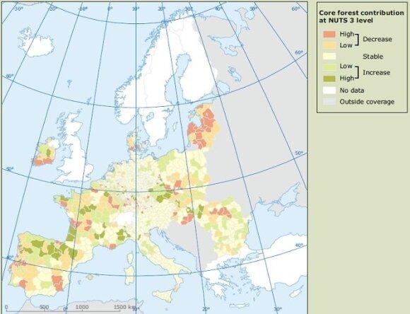 Europos aplinkosaugos agentūros duomenimis, Lietuvoje miškų plotai mažėja