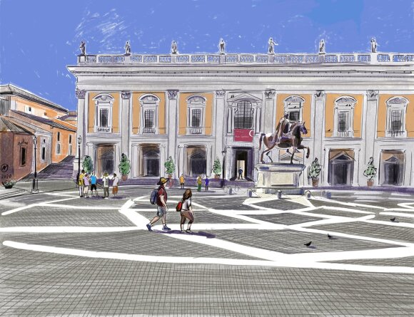 Kapitolijaus aikštė su Marko Aurelijaus statula