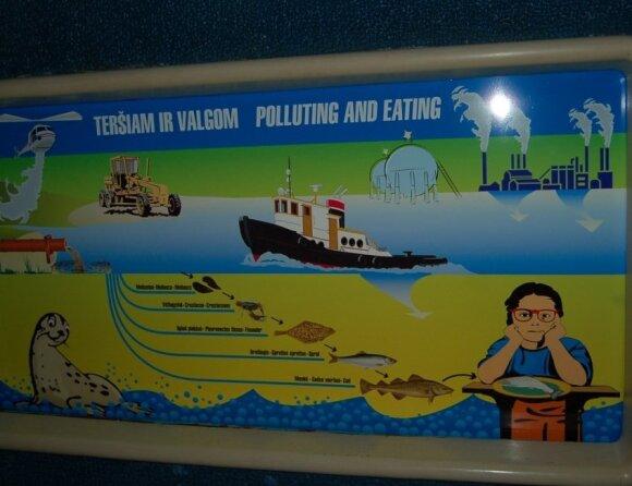 Schema, kaip jūros teršalai patenka ant mūsų stalo (Lietuvos jūrų muziejus)
