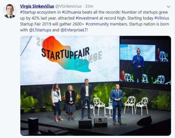 """Žinutė Virginijaus Sinkevičiaus """"Twitter"""" paskyroje"""