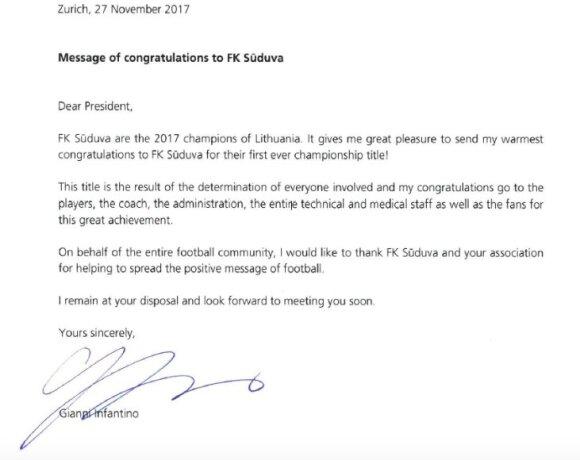 """Gianni Infantino laiškas """"Sūduvos"""" klubui"""
