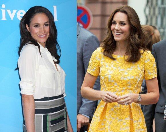 Meghan Markle (kairėje) ir Kate Middleton/ Shutterstock ir Vidapress nuotr. montažas