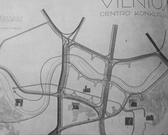 """2 pav. Vilniaus centro transporto srautų schema (""""Statyba ir architektūra"""", 1964 lapkritis)"""