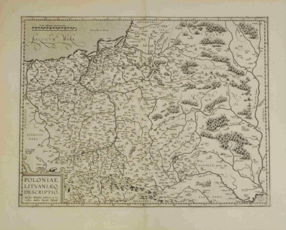 Lenkijos Karalystės ir Lietuvos Didžiosios Kunigaikštystės žemėlapis, 1595 m. (Valdovų rūmų muziejaus nuotr.)