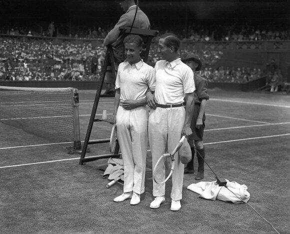 Tenisininkai Rene Lacoste'as ir H. W. Austinas Vimbldono čempionate, 1928 m., Vida Press nuotr.