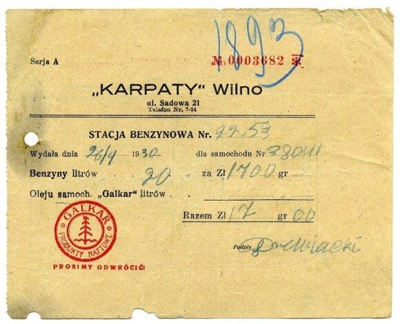 """Bendrovės """"Karpaty"""" kvitas už parduotą benziną. 1930 metai. Vyčio Ramanausko kolekcija."""