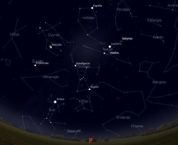 """Priešpilnis Mėnulis tarp vasario žvaigždžių vasario 21 d. 21 val. / Pav. sukurtas """"Stellarium"""" programa"""