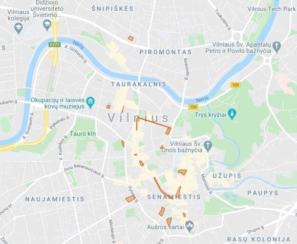 Dovanojamų vietų lauko kavinėms žemėlapis