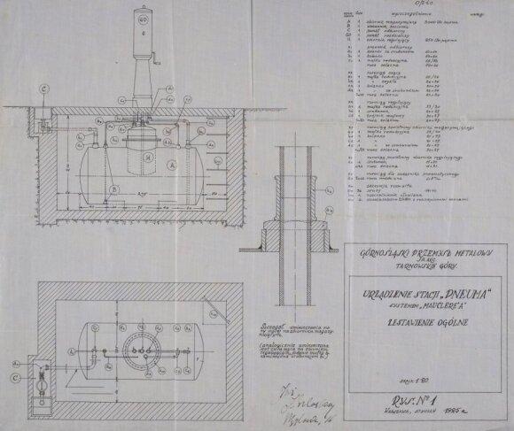 """Firmos """"Oleum"""" Vilniaus magistratui pateiktas planuojamos statyti Katedros aikštėje benzino kolonėlės brėžinys. 1925 metai"""