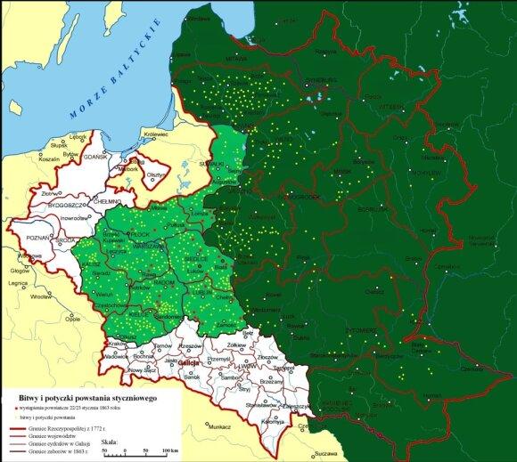 Lenkų ir lietuvių sukilimo prieš rusų jungą (1863-1864 m.) mūšių vietos (pažymėtos geltonais taškais)