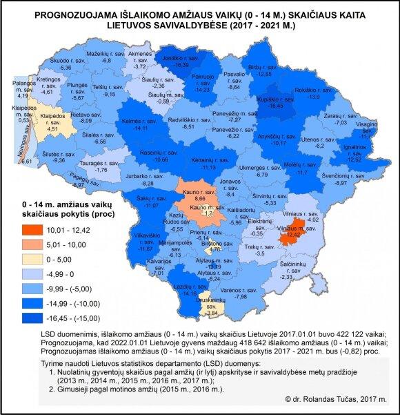 Prognozuojama išlaikomo amžiaus vaikų (0–14 m.) skaičiaus kaita Lietuvos savivaldybėse (2017–2021 m.).