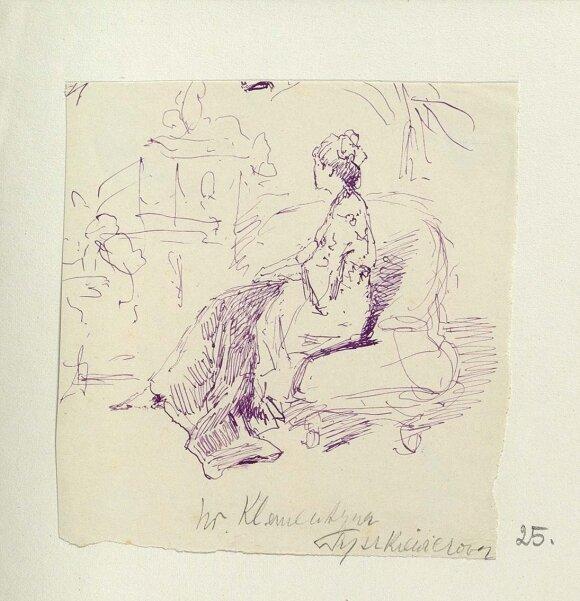 XIX a. 9 dešimtmetyje Alfredo Romerio sukurtas grafienės Klementinos Tiškevičienės (popierius, tušas) portretas