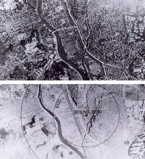 Nagasakis prieš sprogimą ir po jo