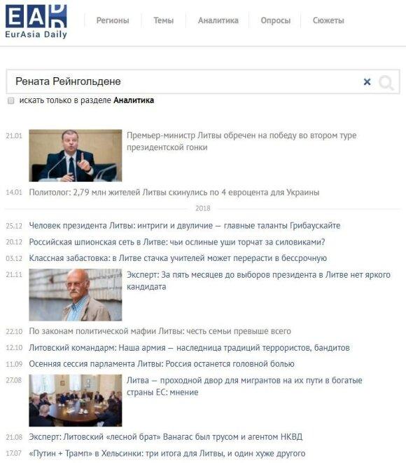 Renatos Reingoldienės parašytų straipsnių sąrašas