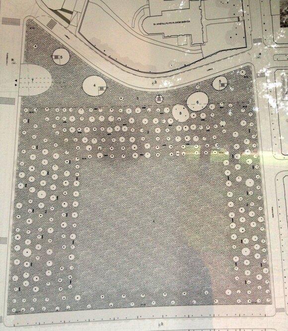 Architektūrinį Lukiškių aikštės sutvarkymo konkursą (2010 m.)  laimėjęs R. Paleko projektas: aikštė išgrista akmenimis, autorių nuotr.