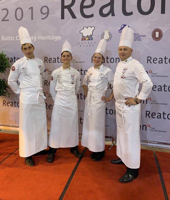 Lietuvos komanda: Vilius Ručinskas, Erikas Janerikas, Toma Piskarskaitė, Tomas Rimydis - Baltic Culinary Heritage 2019