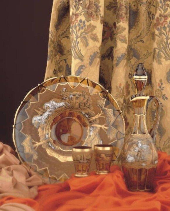 Išskirtiniai Egermann gaminiai, puošti aukso ir sidabro kombinacija, ištapyti rankomis