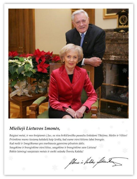 Чета Адамкусов поздравила жителей Литвы с Рождеством: будем беречь и ценить друг друга