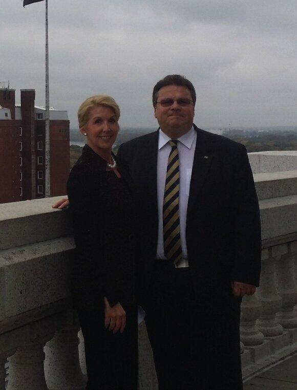 Leslie Ann Liautaud with Foreign Minister Linas Linkevičius