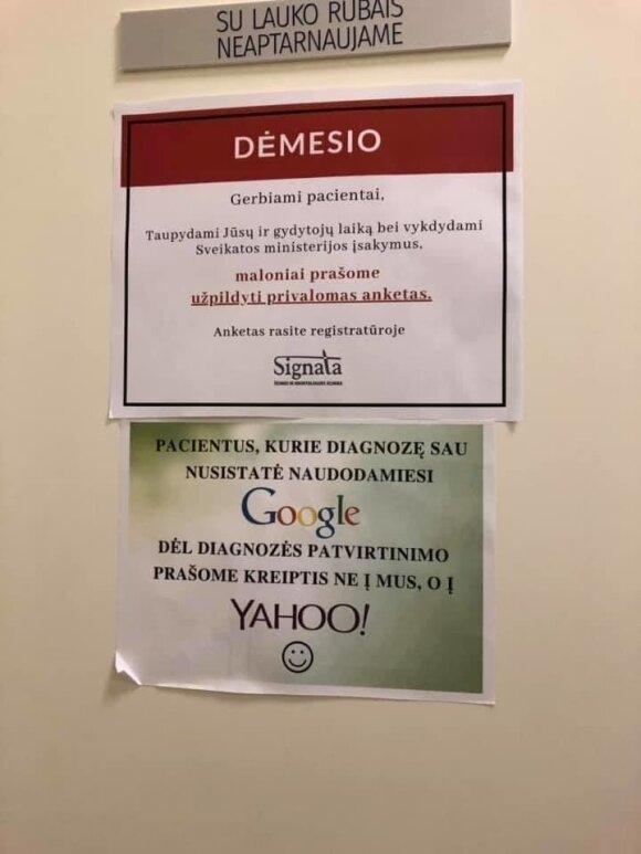 """Kauno medicinos įstaigos skelbime – patarimas dėl diagnozės kreiptis į """"Yahoo"""""""