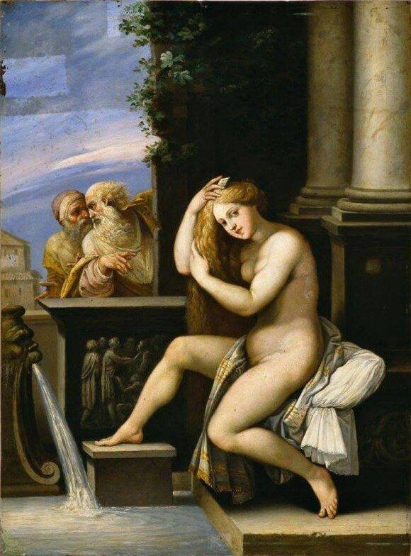 Zuzana ir seniai.  Giuseppe Cezari paveikslas iš von der Roppų kolekcijos (Nacionalinis M. K. Čiurlionio dailės muziejus)