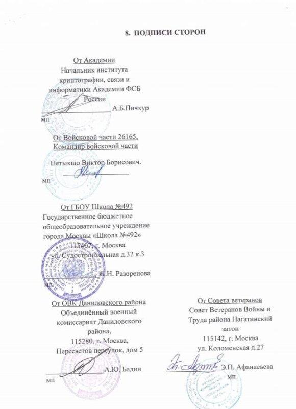 """Mokyklos prisijungimo prie programos """"Kadetų klasės Maskvos mokyklose"""" raštas, patvirtintas ir GRU karinio dalinio 26165 vadovo Viktoro Netyško parašu"""