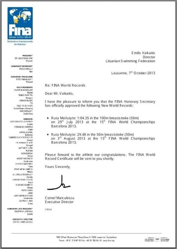 R. Meilutytė džiaugiasi: FINA patvirtino du jos pasaulio rekordus